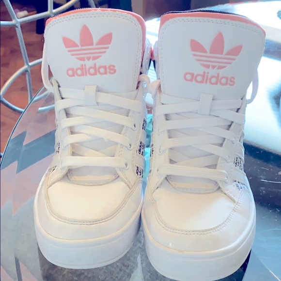 Adidas Girl Pink and White High Top Shoes